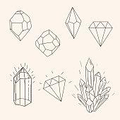 Hand drawn set sketch crystal,diamond and polygonal figure tatto
