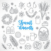 Hand drawn Shavuot design elements
