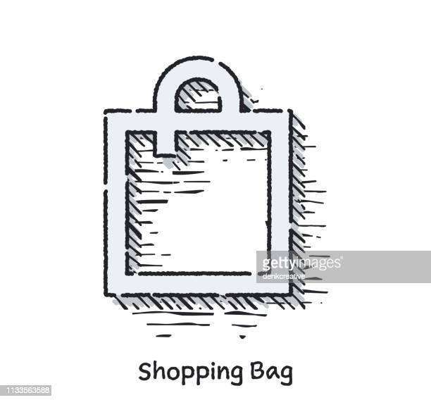 Mano dibujado Shopping bolsa boceto línea icono para Web