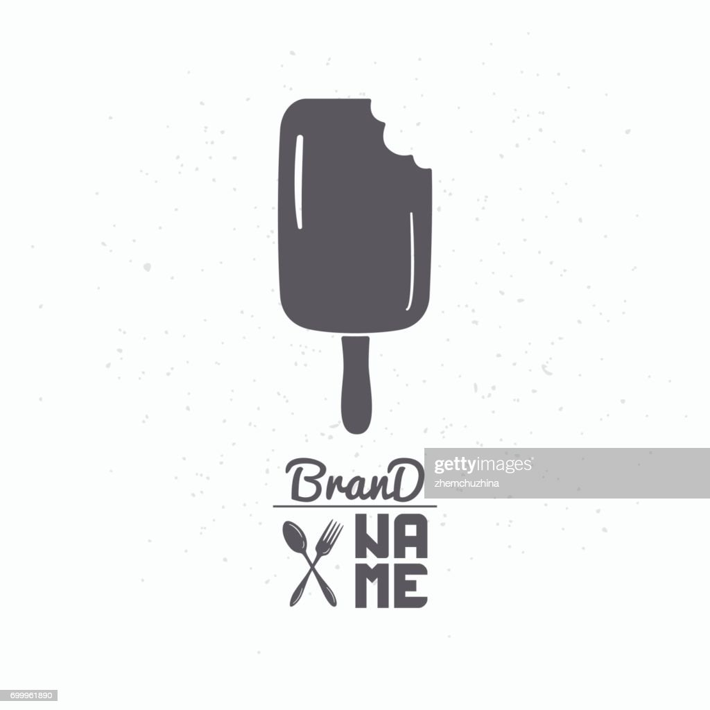 Hand drawn silhouette of bitten popsicle