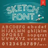 Hand drawn sketch alphabet and numbers collections
