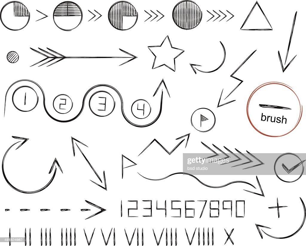 Hand drawn sketch arrows