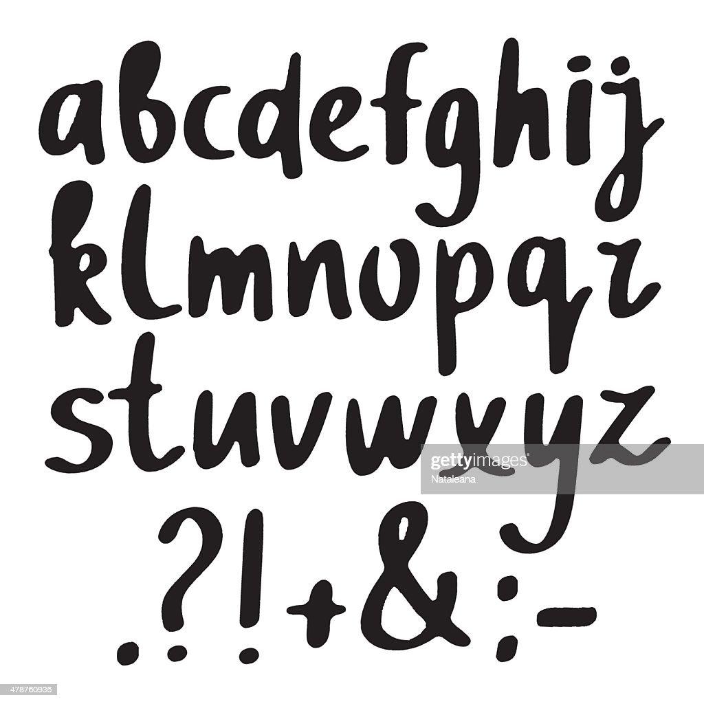 Hand drawn sketch black alphabet