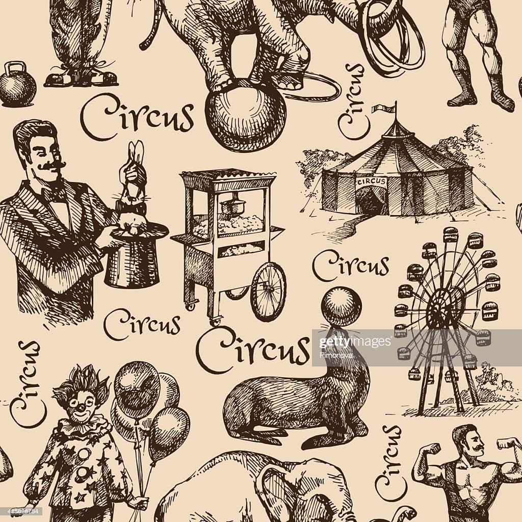 Hand drawn sketch circus and amusement vector illustration. Vint