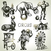 Hand drawn sketch circus and amusement vector illustrations. Vin