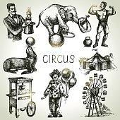 Hand drawn sketch circus and amusement vector illustrations. Vin