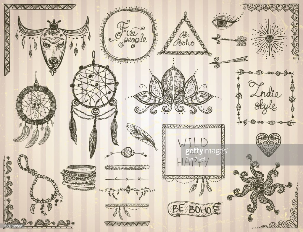 Hand drawn sketch elements set in boho style
