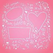 Hand drawn sketch illustration - Speech Bubbles. Love