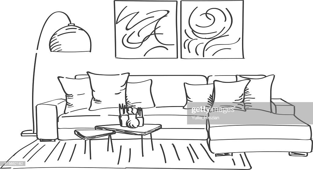Hand drawn sketch of modern living room interior