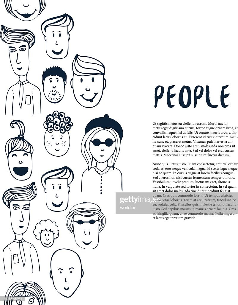 Hand drawn sketch people collection. Vector