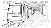 Hand drawn sketch Saint Petersburg subway station
