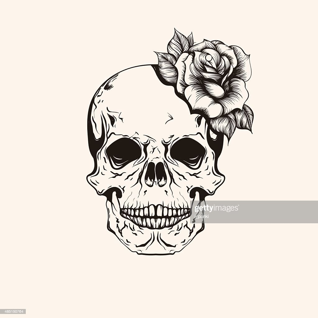 Hand drawn sketch scull with rose tattoo line art.
