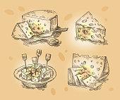 hand drawn sketch set cheese. vector illustration