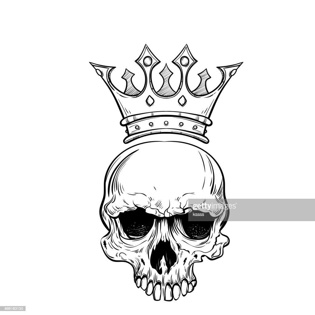 Crown Tattoo Line Drawing : Hand drawn sketch skull with crown tattoo line art vintage