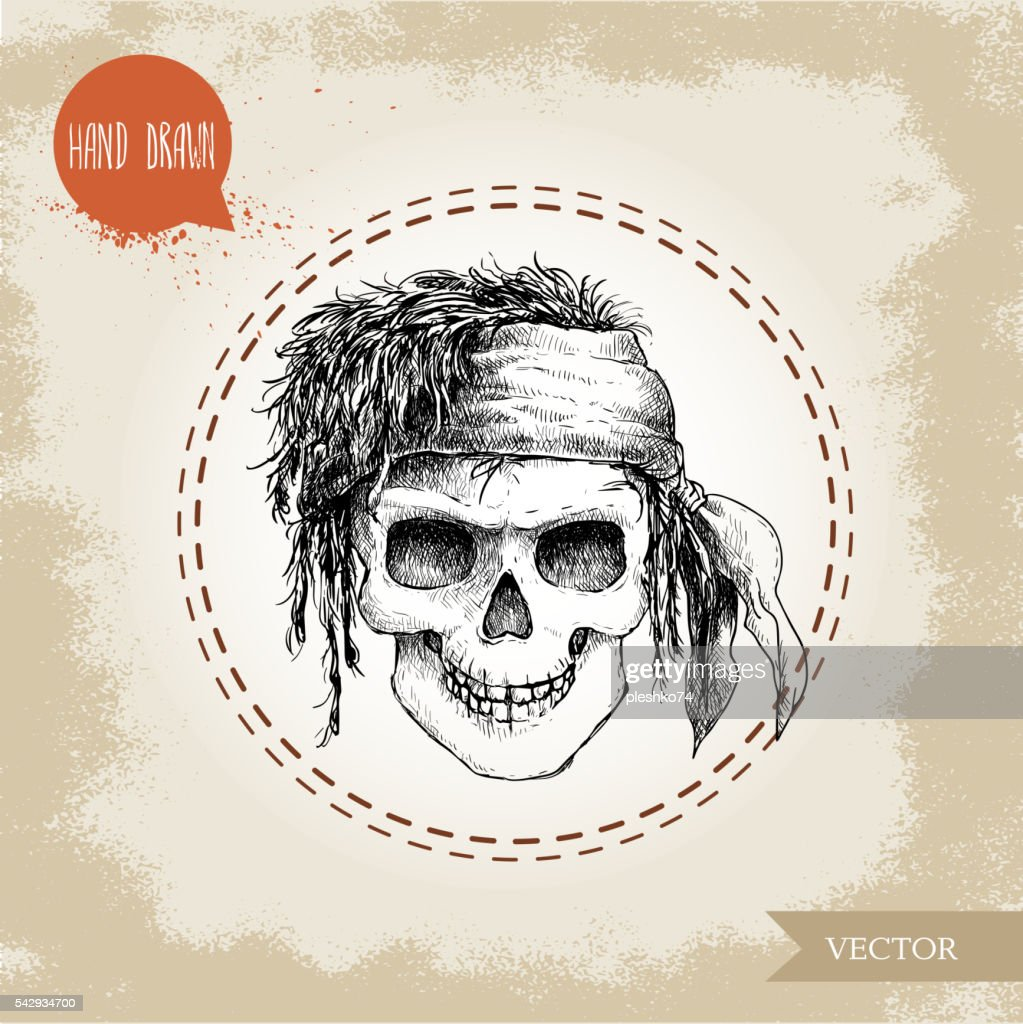 Hand drawn sketch style human skull with dreads and bandana.