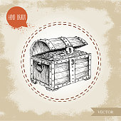 Hand drawn sketch style pirates treasure chest.