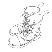 Hand drawn sketch with army boots