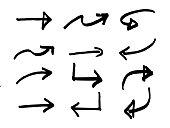 Hand Drawn Sketchy Arrows. Vector Design Elements