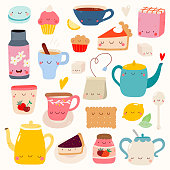 Hand drawn Smiley characters about tea and desserts.