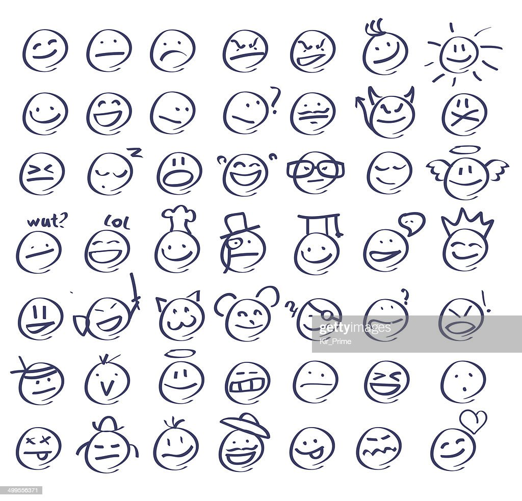 Hand drawn smiley faces/emoticons