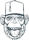 Hand Drawn Smiling Monkey with Fez for t-shirt. Vector