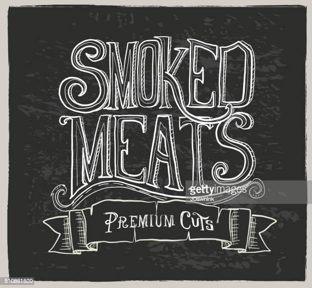 ilustraciones, imágenes clip art, dibujos animados e iconos de stock de dibujado a mano letras carnes ahumado - matadero