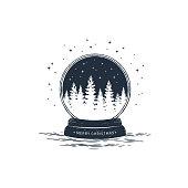 Hand drawn snow ball vector illustration.