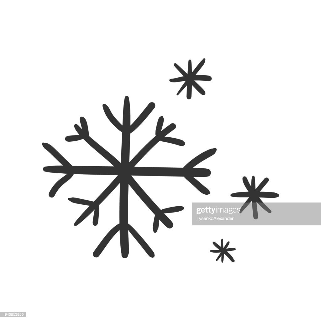 Hand drawn snowflake vector icon. Snow flake sketch doodle illustration. Handdrawn winter christmas concept.