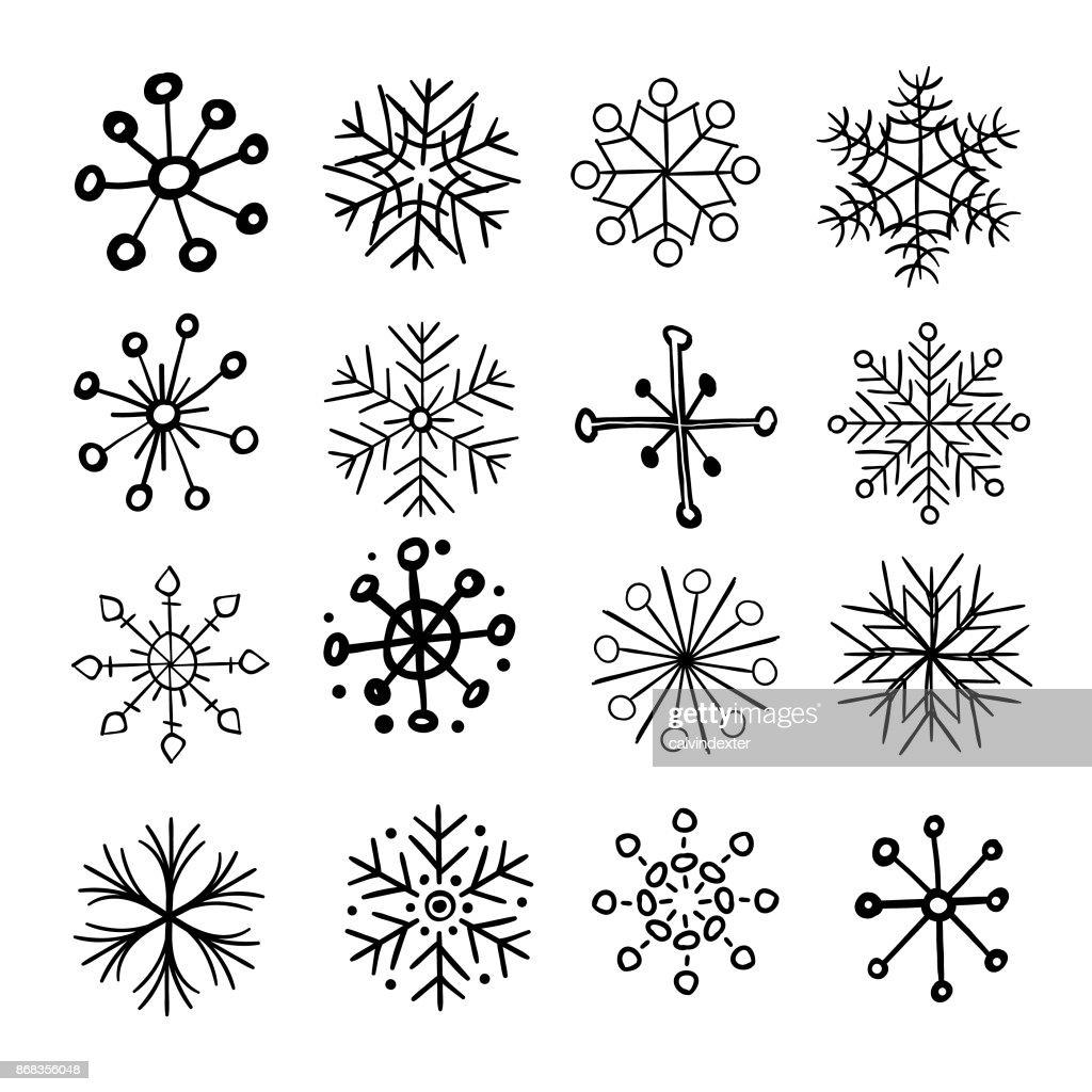 Handgezeichnete Schneeflocken : Stock-Illustration