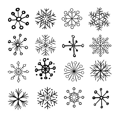 Hand drawn snowflakes - gettyimageskorea