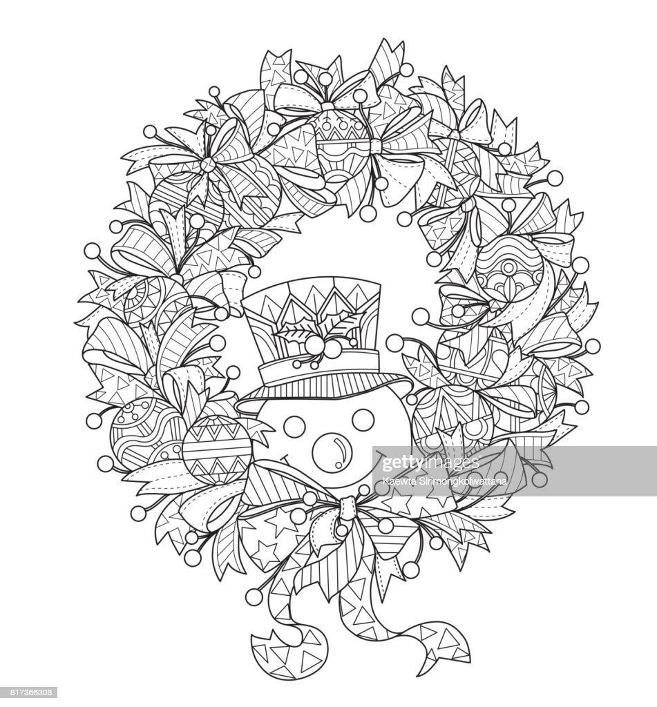 Handgezeichnete Schneemann Und Der Adventskranz Für Erwachsene