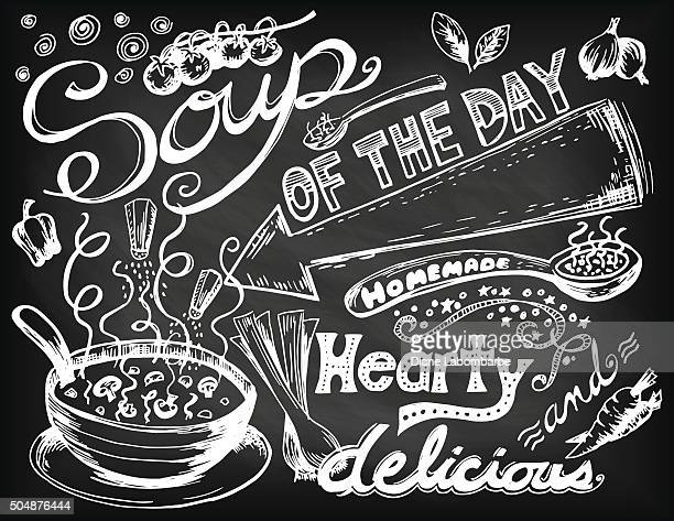 hand drawn soup doodles - chalk art equipment stock illustrations, clip art, cartoons, & icons