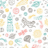 Hand drawn Space doodle Vector Seamless pattern