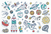 Hand drawn Space Doodle Vector Set