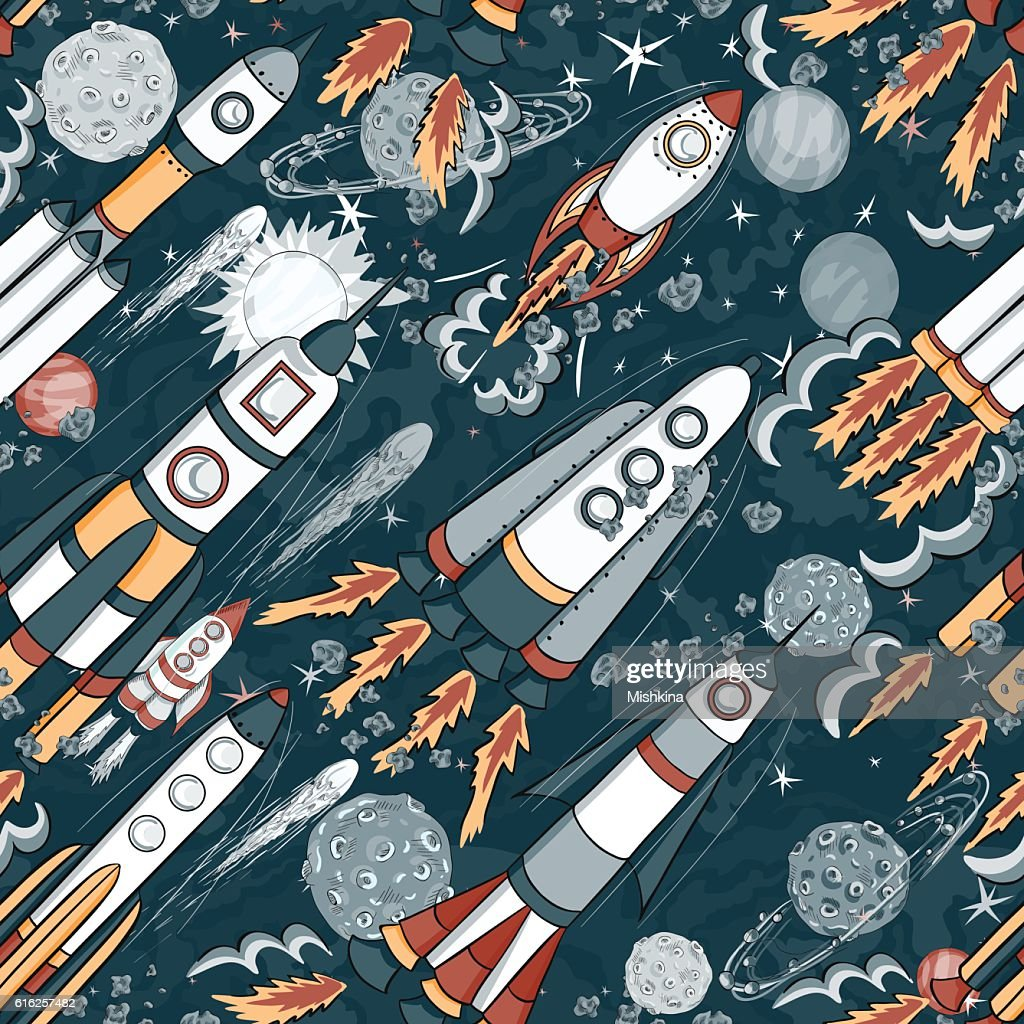hand drawn space seamless pattern. kids vector background : Vector Art