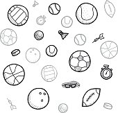Hand drawn sport ball collection