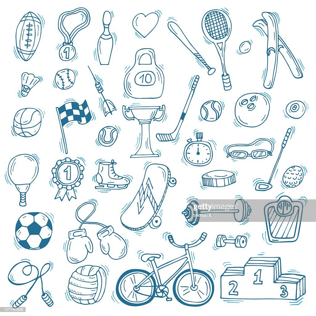 Hand drawn sport icon set. Fitness and sport. Healthy lifestyle