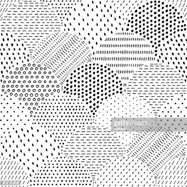 illustrazioni stock, clip art, cartoni animati e icone di tendenza di hand drawn spotted seamless pattern - motivo ornamentale