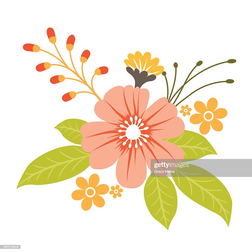 Hand Drawn Spring Flowers Vector Vector Art Getty Images
