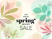 Hand Drawn Spring Leaves Background