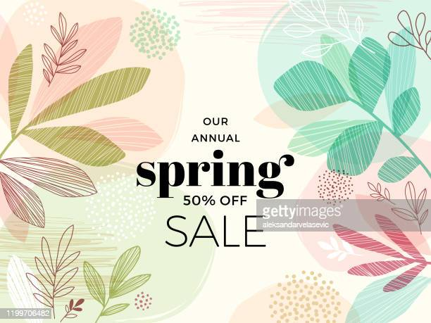 hand drawn spring leaves background - flower stock illustrations