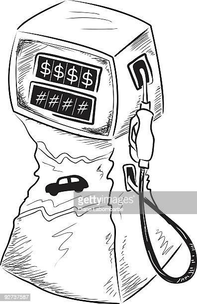 hand drawn squeezed by fuel prices clipart - gas prices stock illustrations, clip art, cartoons, & icons