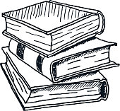 Hand Drawn Stack of Books. Vector