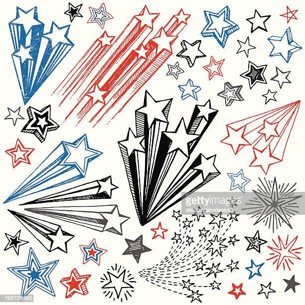 hand drawn star shape design elements - star shape stock illustrations, clip art, cartoons, & icons