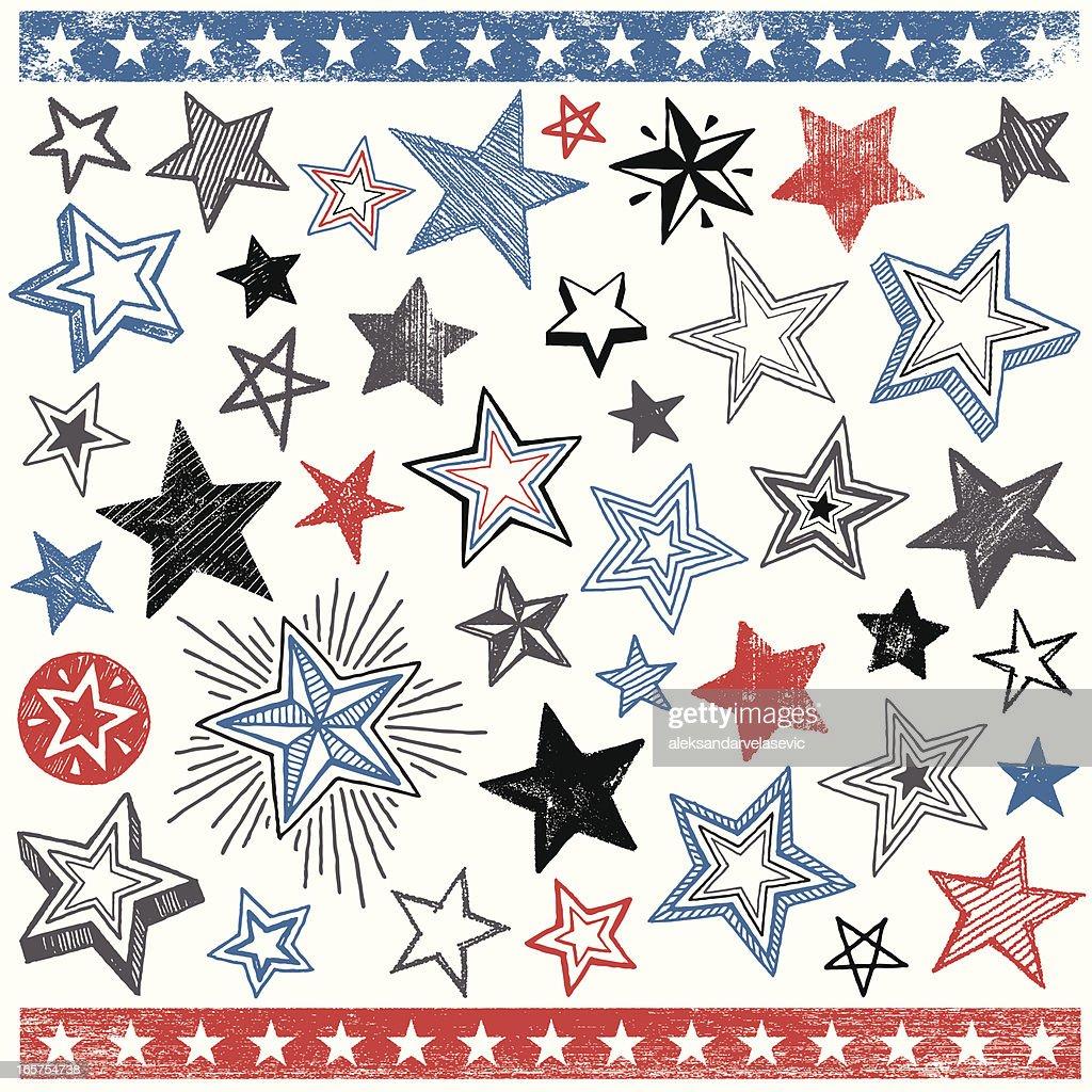 Hand Drawn Star Shape Design Elements : stock illustration