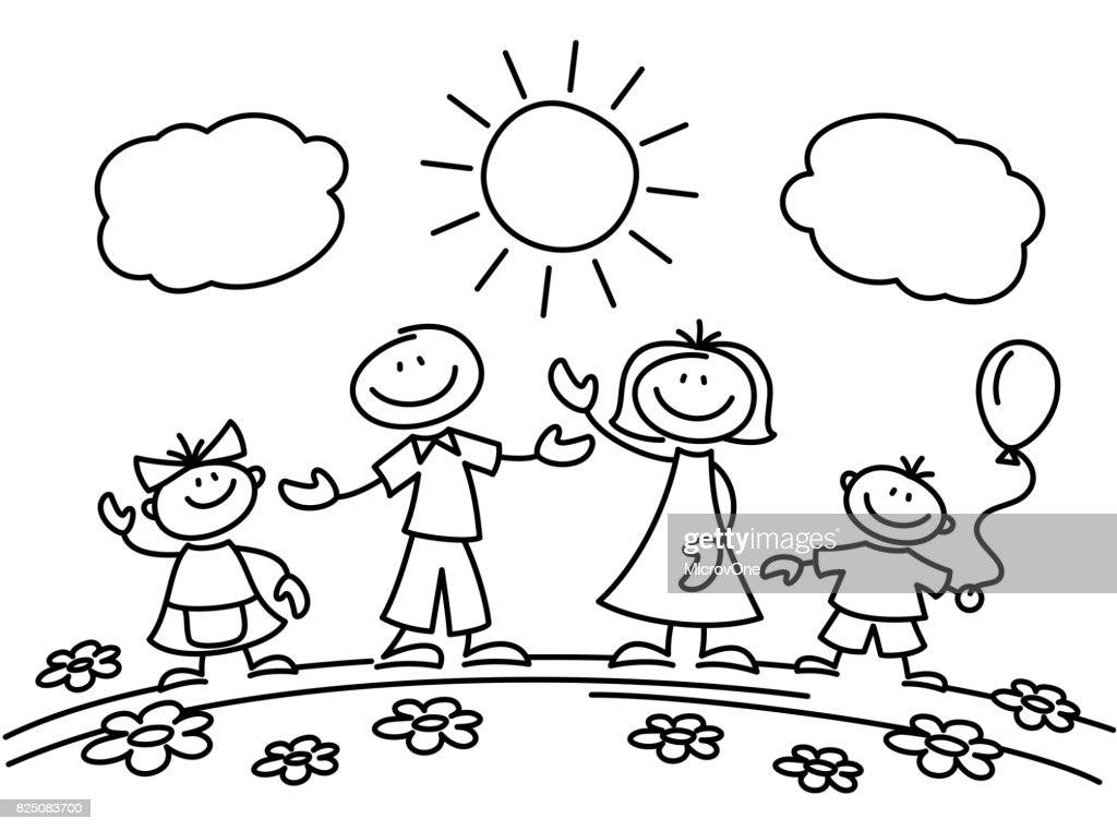Hand drawn stick figure happy family. Vector illustration