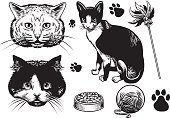 hand drawn style cat collection