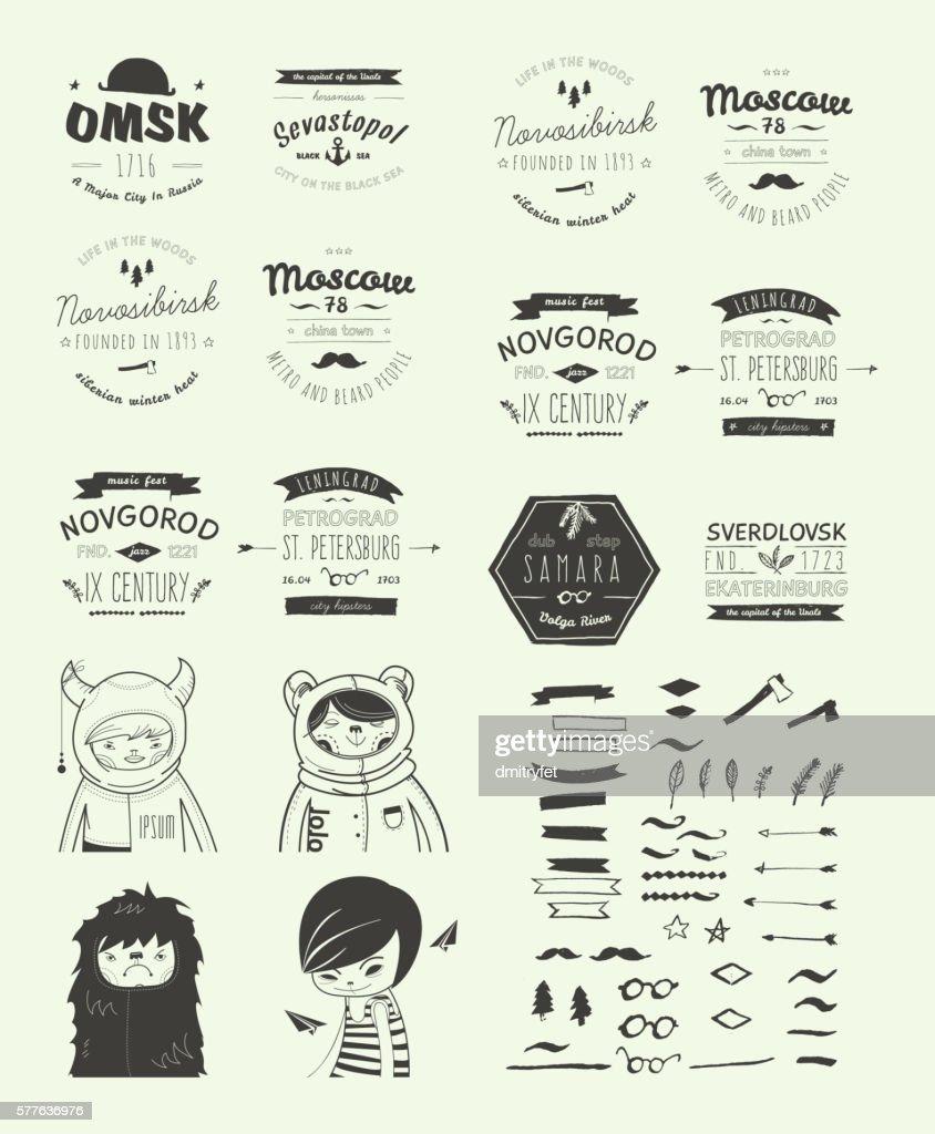 Hand Drawn Style Logos. Trendy Retro Vintage Insignias Bundle