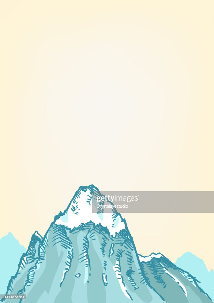 Hand drawn style of a Freezing Mountain top.