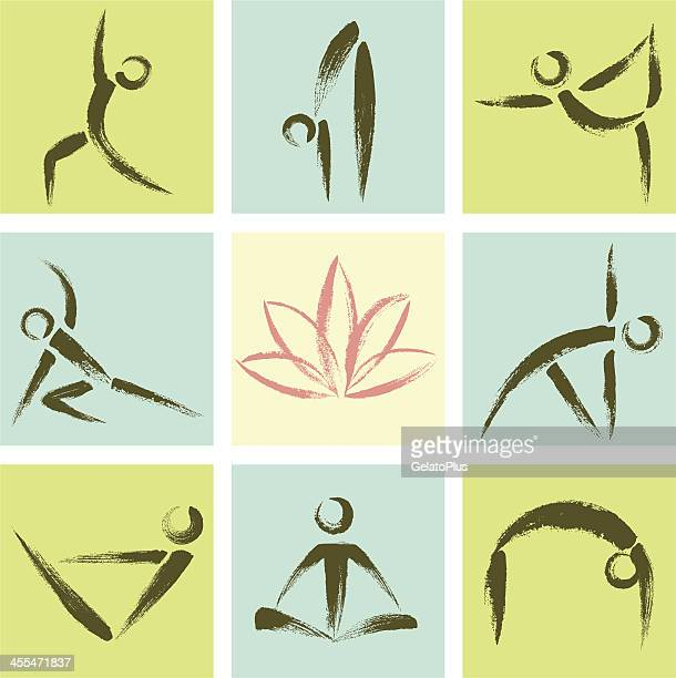 hand drawn style yoga position icons - gymnastics stock illustrations